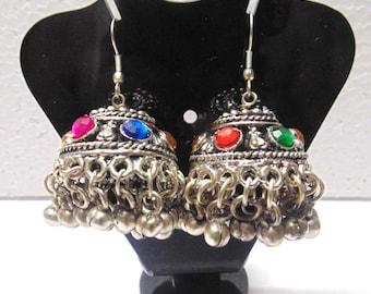 Oxidized Silver Dangle Earrings , Hoop Earrings , Chandelier Earrings , Boho Earrings , Gypsy Earrings , Belly dance earrings 524640