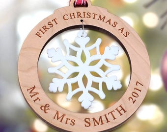 first married christmas ornament our first christmas as mr mrs christmas ornament 1st ornament mr - Our First Married Christmas Ornament