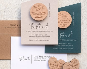 Angled Save the date magnets + Cards, Coloured save the date cards, Modern wooden save the dates, Luxury wedding save the date cards
