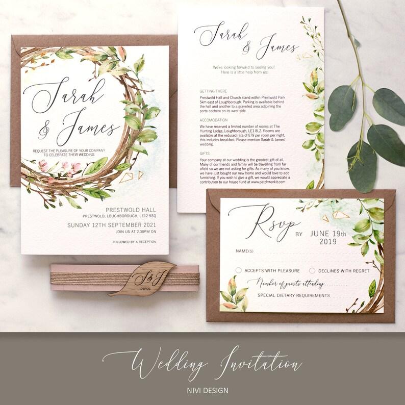 Invito Matrimonio Rustico : Matrimonio rustico invito invito di nozze romantico giardino etsy