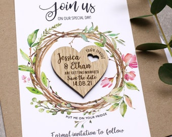 Rustic Wedding Save The Date Magnets with Cards, Personalised Boho Invitation, Spring Summer Wedding, Wooden Floral Wedding Magnets