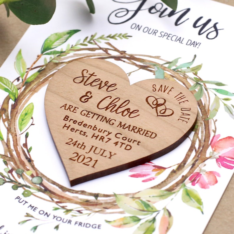 Save The Date Magnet Rustic Heart Wooden Save the Date image 0