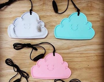 Silicone Cloud Pendant Necklace - Variety of Colours