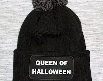 3f9163d0aeb Queen of halloween bobble hat - queen of halloween beanie hat - halloween  bobble hat - horror beanie - goth beanie hat - goth bobble hats