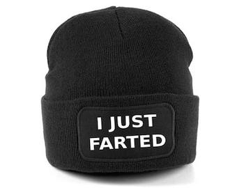 I just farted beanie hat - funny beanie hat - funny beanies hats - beanie  hats - fart jokes - funny fart beanie - black beanie - gift idea c8694e3619d