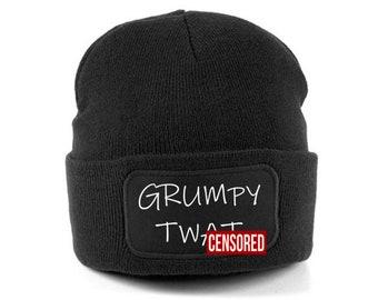 Grumpy Tw   beanie hat - funny beanie - funny beanies - funny beanie hats - funny  hats - beanie hats - black beanie hat - winter hats 1f4be6ed55de