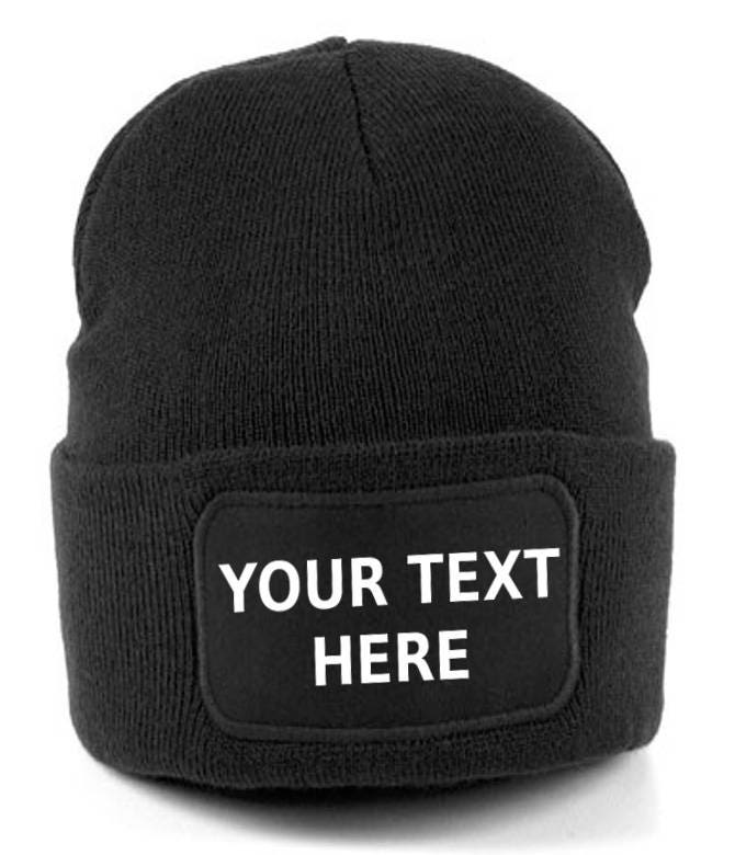 Personalised Embroidered Beanie Hat Cuffed Pullover Custom Printed Wooley Hat