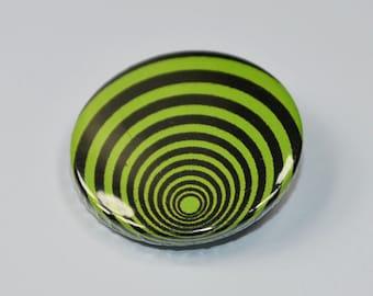 Green spiral punk badge - punk pin - punk button - 25mm