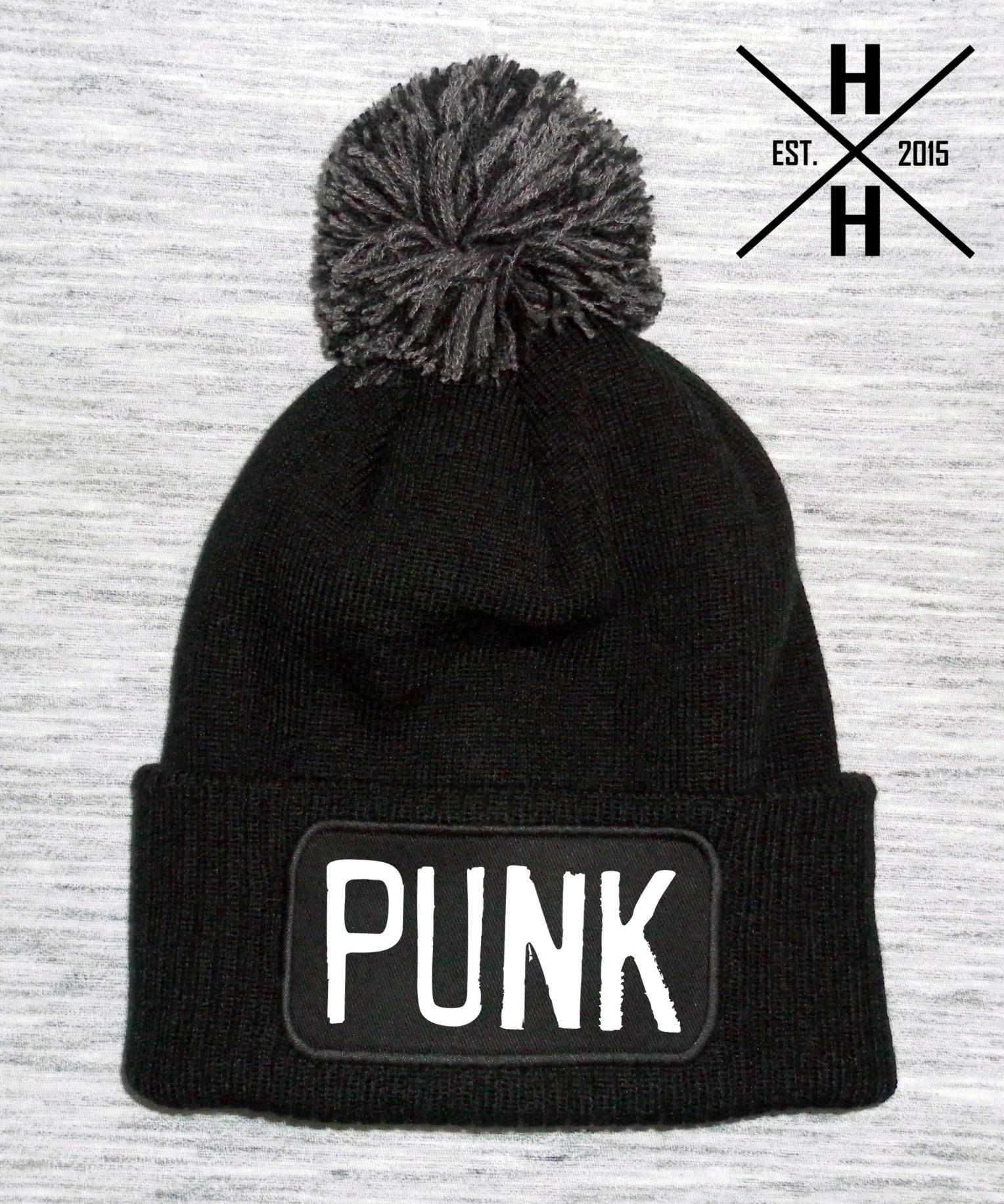 Punk bobble hat punk bobble hats punk beanie hats black etsy jpg 1528x1832 Punk  beanie 4eb57bb69226