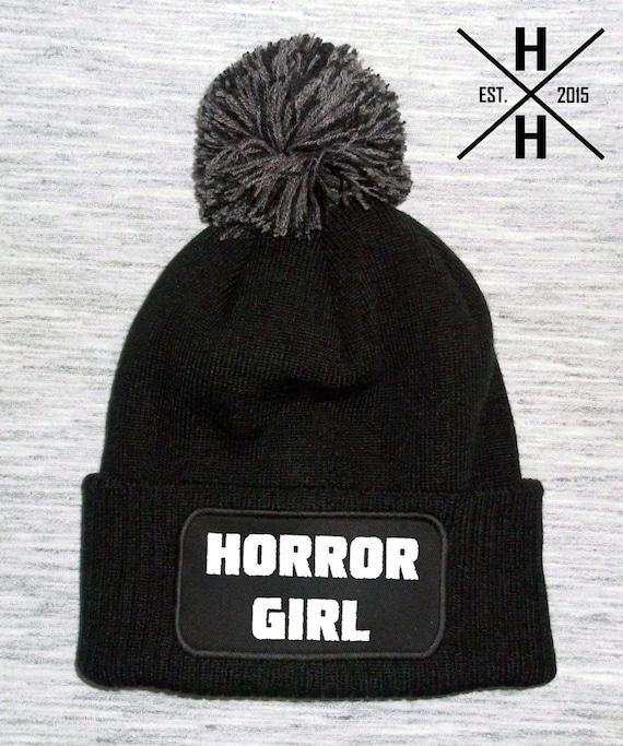 beanie hats horror hats gift gift ideas horror bobble hat black beanies bobble hats Horror Girl bobble hat horror beanie hat