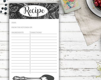 Recipe Notepad, Chalkboard, Herbs, Vintage Inspired, Farmhouse Kitchen