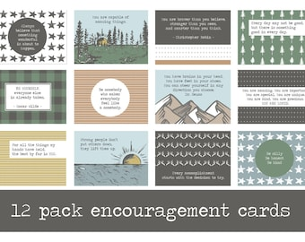 Pack of 12 Encouraging Mini Prints : WOODS + ADVENTURE EDITION, Encouraging Words, Positive Quotes, Kids Decor