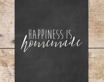 Happiness is homemade, wall print, boho farmhouse, modern farmhouse, chalkboard print