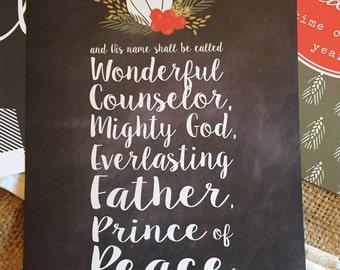 Hendel Messiah's Wonderful Counselor, Christmas Print, Wall Print