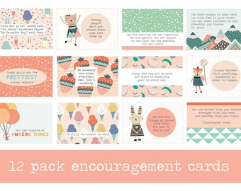 Pack of 12 Encouraging Mini Prints, Encouraging Words, Positive Quotes, Kids Decor