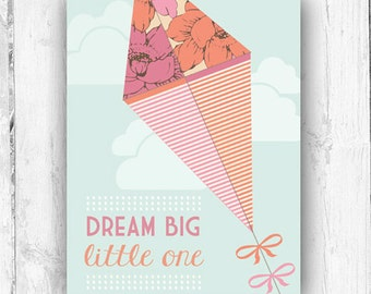 Dream Big Little One, Kite, Vintage Inspired, Nursery, Playroom, Wall Print