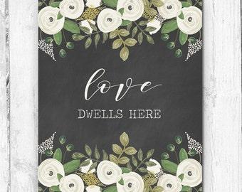 Love Dwells Here, Wall Print, Botanicals