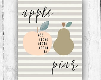 Apple and Pear, Wall Print, Nursery, Playroom, Kitchen Art
