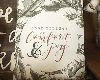 Good Tidings of Comfort and Joy, Christmas Print