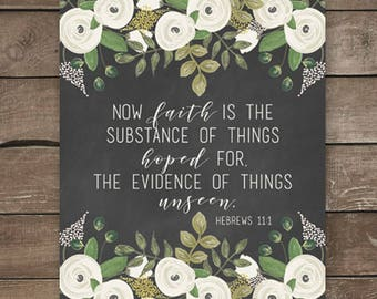 Hebrews 11:1, Chalkboard Print, Farmhouse Style, Floral