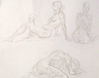 Signed Original Figurative Woman Artist Sketch