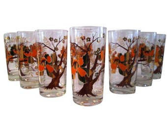 Culver Gold Cherry Blossom Tree Tumblers, S/8