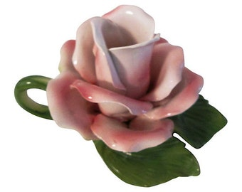 Italian Pottery Rose Candleholder