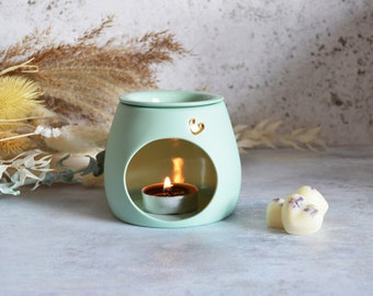 Seconds** Mint Handmade Porcelain Oil and Wax Burner with a Gold Embossed Heart and Detachable Lid, Pastel Wax Burner, Oil Burner, Wax