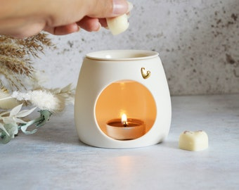 Seconds** White Handmade Porcelain Oil and Wax Burner with a Gold Embossed Heart and Detachable Lid, Pastel Wax Burner, Oil Burner, Wax