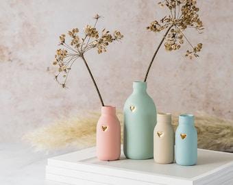 Pastel Bottle Vase with Gold Embossed Heart, Porcelain Vase, Pastel Bottle, Ceramic Bottle Vase, Pastel Vases, Gold Heart