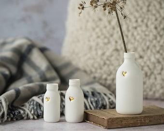White Bottle Vase with Gold Embossed Heart, Porcelain Bottle Vase, White Bottle, Ceramic Bottle Vase, Gold Heart
