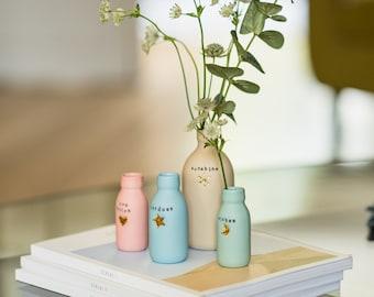 Worded Pastels Porcelain Bottle Vase with Gold Embossed Motif, Porcelain Vase, Pastel Pink Bottle, Ceramic Bottle Vase