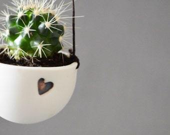 Hanging Planter with Heart/ Ceramic/ Porcelain Hanging Planter/ Love Heart/ Air Plant/ Cactus/ Succulent/ Mother's Day/Love/Gold/Heart