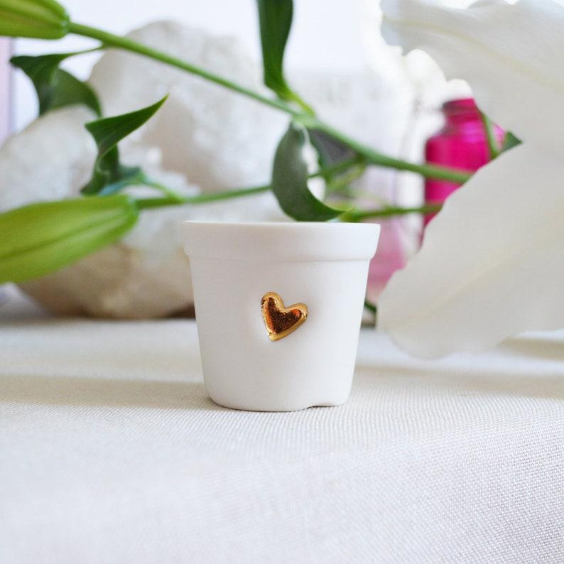Miniature Mini Pot Ceramic Plant PotCeramic Mini Gold Heart PotPorcelain Plant PotLove Valentines Mothers Day I love youPlant Pot