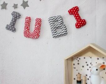 Bébé Garçon Personnalisé Nom Bunting tissu Lettres Tout Nom//mot *
