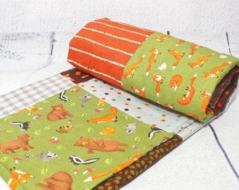 "Baby Blanket Handmade, 40 "", Woodland baby blanket, Forest nursery kids room, Patchwork, Woodland nursery, Baby Quilt Handmade"
