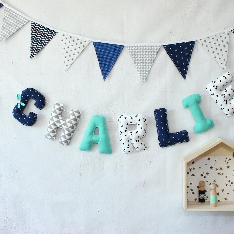 Lettres de tissu Guirlande prénom Décoration chambre bébé | Etsy