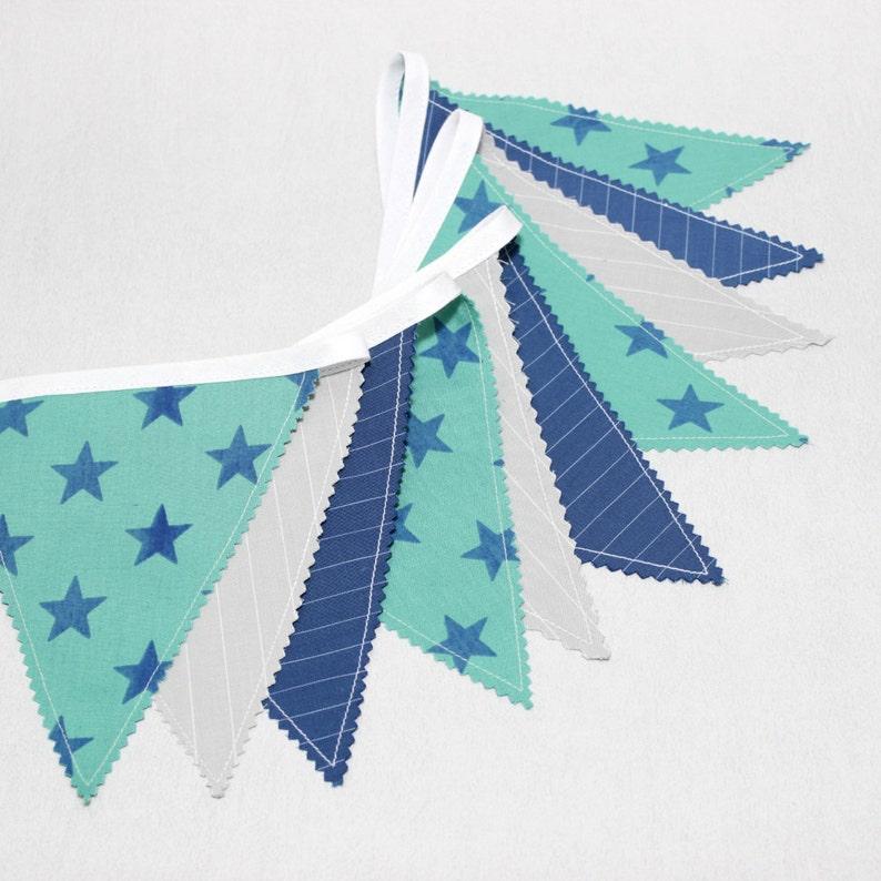 Guirlande de fanions Déco chambre bébé Gris Bleu Vert Deco | Etsy