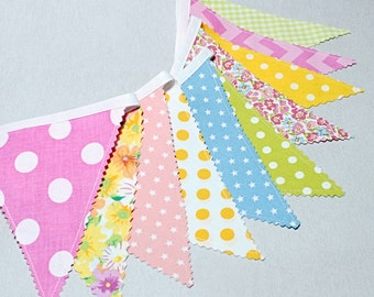 Bunting, Fabric Garland, Flag, Yellow, Apple Green, Pink, Easter Banner, Lemonad Party, Baby Shower