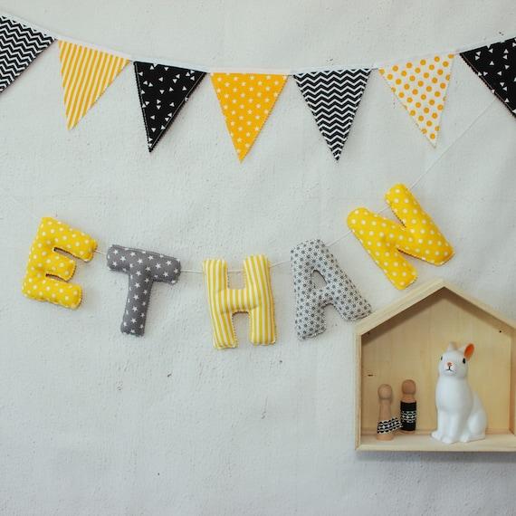 Guirlande de prénom Décoration chambre bébé Jaune Gris | Etsy