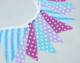 Frozen Fabric Bunting Banner, Frozen Birthday Pennants, Garland, Lilac, Turquoise, Pupple, Bleu, Polka Dots Garland Flags, Frozen Party