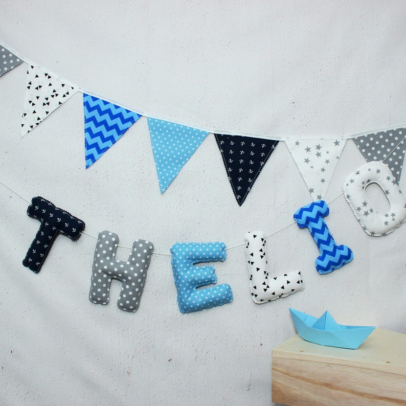 Lettres de tissu Guirlande prénom Déco chambre bébé | Etsy