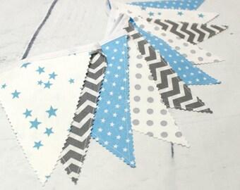 Baby Blue & Grey, Gray, Fabric Banner, Bunting , Nursery Decor, Pennants, Baby shower banner, Boys room decoration