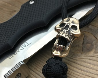 Knife Landyard Bead / The Big Mouth Skull / Bronze