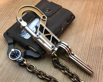 Walletchain with double swivel and Ti-Bolt Carabiner Keychain