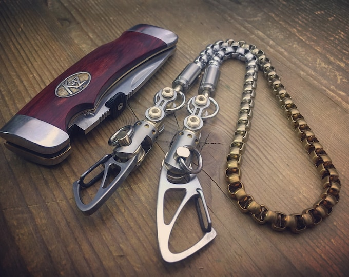Titanium Biker Walletchain with 2 Ti-Swivels Cal. 9mm Parabellum ends