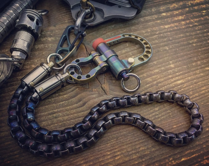 Titanium Shackle Wallet chain with Titanium bi-swivel Cal. 9mm /