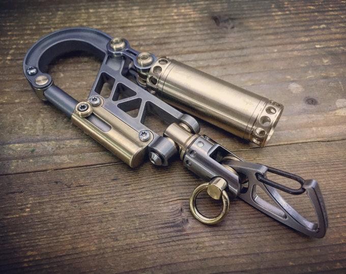 Titanium Bolt Carabiner  Swivel Keychain  with Brass Store Pills