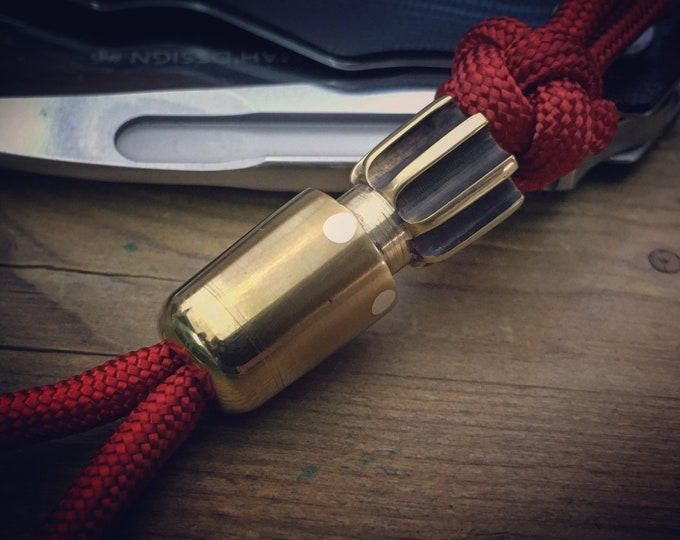 One-Off / Knife Bomb  Landyard Bead / Brass, antique patina and Silver Sterling - Red