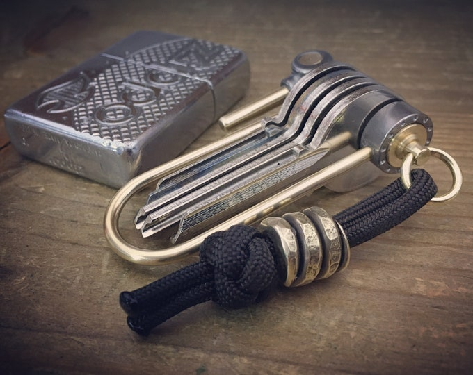 U-Bike Titanium Keychain with brass Bead - Aged / Industrial Style
